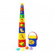 Детская развивающая игрушка занимательная пирамидка №3 (16 элементов) (в сеточке) арт. 52605 Полесье