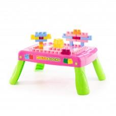 Детский набор игровой с конструктором (20 элементов) в коробке (розовый) с элементом вращения арт. 58010 Полесье