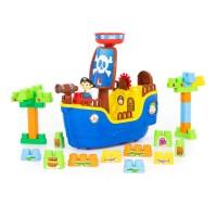 """Детский игровой  набор """"Пиратский корабль"""" + конструктор (30 элементов) (в коробке) арт. 62246  Полесье"""
