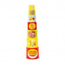 """Детская игрушка пирамидка """"Оранжевая корова"""" (7 элементов) (в сеточке) арт. 84422 Полесье"""
