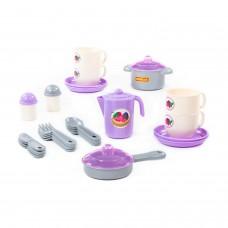 """Набор игрушечной посуды """"Хозяюшка"""" на 4 персоны (V2) (28 элементов) (в сеточке) арт. 80134 ПОЛЕСЬЕ"""