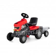 """Детская игрушка каталка-трактор с педалями """"Turbo"""" (красная) с полуприцепом арт. 52681 Полесье"""