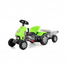 """Детская игрушка для мальчиков каталка-трактор с педалями """"Turbo-2"""" (зелёная) с полуприцепом арт. 52742 Полесье"""