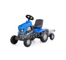 """Детская игрушка машинка каталка-трактор с педалями """"Turbo"""" (синяя) с полуприцепом арт. 84637 Полесье"""