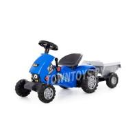 """Детская каталка-трактор с педалями """"Turbo-2"""" (синяя) с полуприцепом арт. 84651 Полесье"""