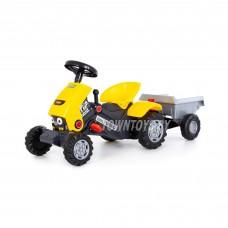 """Детская каталка-трактор с педалями """"Turbo-2"""" (жёлтая) с полуприцепом арт. 89342 Полесье"""