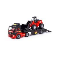 """Детская игрушка автомобиль-трейлер + трактор-погрузчик """"MAMMOET VOLVO"""" 204-01 арт. 56733 Полесье"""