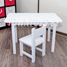 Детский столик из массива БОЛЬШОЙ со стульчиком арт. SDNYW-805052-SDW27. БЕЛЫЙ.
