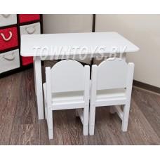 Детский столик из массива БОЛЬШОЙ со стульчиками арт. SDNYW-805052+2-SDLW-27. БЕЛЫЙ.
