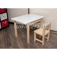 Комплект детский деревянный столик и стульчик арт. SLN-705050+SDN-27. Столешница 700х500 мм.
