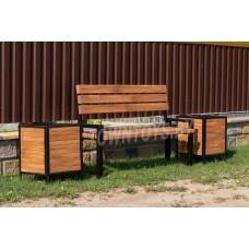 """Комплект садовой мебели скамейка и две подставки для цветов (кашпо)  """"Комфорт"""" арт. SDMS-150-40"""