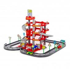 Детская игрушка для мальчиков конструктор паркинг 4-уровневый с дорогой и автомобилями (красный) (в коробке) арт. 44723 ПОЛЕСЬЕ в Минске