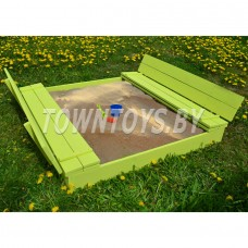 Детская песочница деревянная арт. PD-150-15. Песочница-трансформер с крышкой и лавочкой (глубина 15 см.) арт. PD-150-15. (Цвет салатовый.)