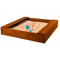 """Детская песочница-скамейка деревянная окрашенная """"Дачная"""" арт. PDD-150-24. (глубина 240 мм.) (Цвет орех.)"""