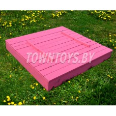 Детская песочница-трансформер с крышкой и лавочкой деревянная арт. PD-150-15 (глубина 15 см.) (Цвет розовый.)