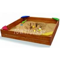 Детская песочница деревянная окрашенная  арт. PD-150-24. (глубина 240 мм.) (Цвет светлый орех.)