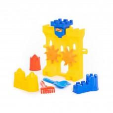 Детский игровой набор для песка №466: песочная мельница, лопатка №5, грабельки №5, формочки) арт.45102. Полесье