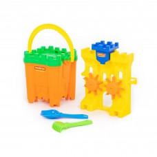 Детский игровой набор для песка №467. (мельница, ведро-крепость, сито-крепость, лопатка, грабельки) арт. 45119. Полесье