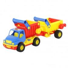"""Детская игрушка """"КонсТрак"""", автомобиль-самосвал с полуприцепом (в сеточке) арт. 0360 Полесье"""