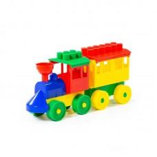 Детская игрушка Конструктор - Паровоз с одним вагоном, 2037, Полесье