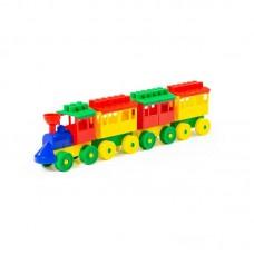 Детская игрушка Конструктор - Паровоз с тремя вагонами, 2051, Полесье