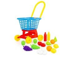 """Детская игрушка Тележка """"Supermarket"""" №1 + набор продуктов (в сеточке), 42989, Полесье"""