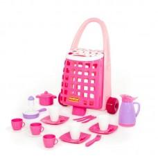 Детская игрушка Забавная тележка + набор детской посуды (31 элемент) арт. 44389 Полесье