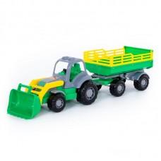"""Детская игрушка """"Крепыш"""", трактор с прицепом №2 и ковшом, 44808, Полесье"""
