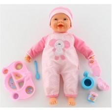 """Детская игрушка Кукла """"Пупс"""":озвученная, кушает с ложечки (с набором для кормления), 48081, Полесье"""