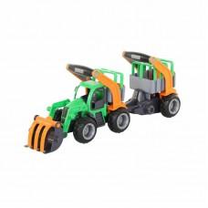 """Детская игрушка трактор-погрузчик """"ГрипТрак"""" с полуприцепом для животных (в сеточке) арт. 48417 Полесье"""