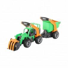 """Детская игрушка трактор-погрузчик с полуприцепом """"ГрипТрак"""" (в сеточке) арт. 48431 Полесье"""