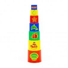 Детская игрушка Занимательная пирамидка №3 (7 элементов) (в сеточке), 52353, Полесье