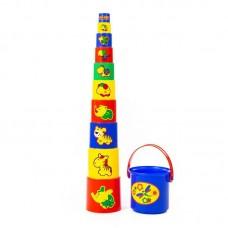 Детская игрушка Занимательная пирамидка №3 (11 элементов) (в сеточке), 52599, Полесье