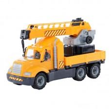 """Детская игрушка """"Майк"""", автомобиль-кран с поворотной платформой (в сеточке), 55613, Полесье"""