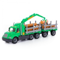 """Детская игрушка """"Майк"""", автомобиль-лесовоз с прицепом (в сеточке) арт. 55675 Полесье"""