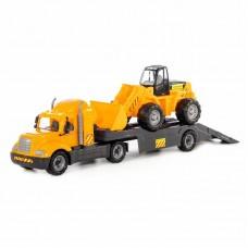 """Детская игрушка """"Майк"""", автомобиль-трейлер + трактор-погрузчик (в сеточке), 55743, Полесье"""