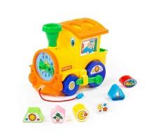 Детская развивающая игрушка Занимательный паровоз (в сеточке). Игрушка-сортер арт. 6189