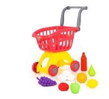 """Детская игрушка Тележка для маркета """"Мини"""" + набор продуктов №14 (12 элементов) (в сеточке) арт. 71385, Полесье"""