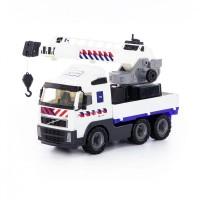 """Детская машинка """"Volvo"""" (Вольво), автомобиль-кран с поворотной платформой полицейский (NL) (в сеточке) арт. 77318 Полесье"""