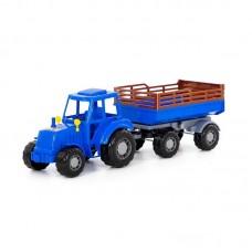 """Детская игрушка Трактор """"Алтай"""" (синий) с прицепом №2 (в сеточке), 84767, Полесье"""