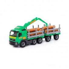 """Детская игрушка """"Volvo"""", автомобиль-лесовоз с прицепом (в сеточке), 8725, Полесье"""