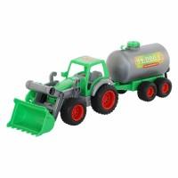"""Детская игрушка """"Фермер-техник"""", трактор-погрузчик с цистерной (в сеточке), 8794, Полесье"""