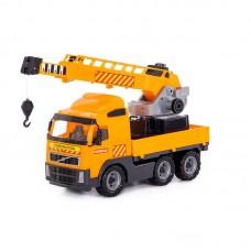 """Детская игрушка автомобиль-кран с поворотной платформой """"Volvo""""(Вольво) (в сеточке) арт. 8824 Полесье"""