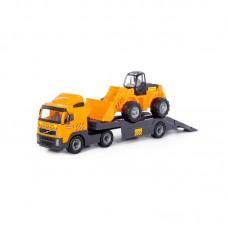 """Детская игрушка """"Volvo"""", автомобиль-трейлер + трактор-погрузчик (в сеточке), 8831, Полесье"""