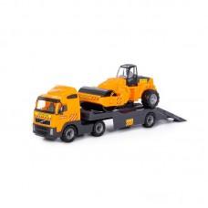 """Детская игрушка """"Volvo"""", автомобиль-трейлер + дорожный каток (в сеточке) арт. 8855 Полесье"""