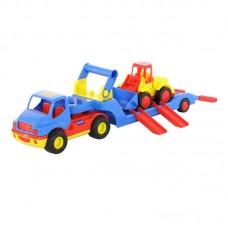 """Детская игрушка """"КонсТрак"""", автомобиль-трейлер + """"Базик"""", погрузчик (в сеточке), 8879, Полесье"""