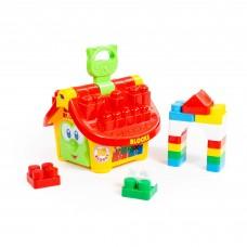 """Детская развивающая игрушка-сортер Логический домик """"Маленький строитель"""" (в сеточке) арт. 9646 Полесье"""