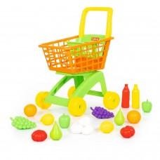 Детская игрушечная тележка для маркета + набор продуктов №6 (19 элементов) арт. 61904 Полесье