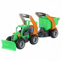 """Детская игрушка грейдер, трактор снегоуборочный с полуприцепом  """"ГрипТрак"""" (в сеточке) арт. 48400 Полесье"""