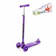Самокат детский Scooter Maxi, трехколесный самокат-кикборд с большими светящимися колесами (фиолетовый). Арт. # 0072-V(Ф) Полесье